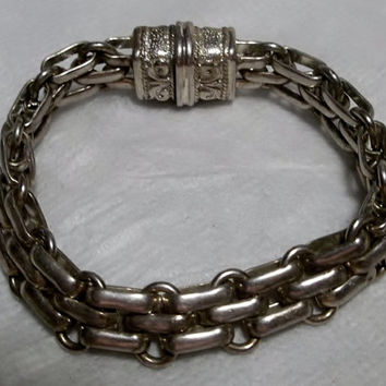 Silver Bracelet w Magnetic Closure, Woven Metal Design, c. 1990's, Great Condition