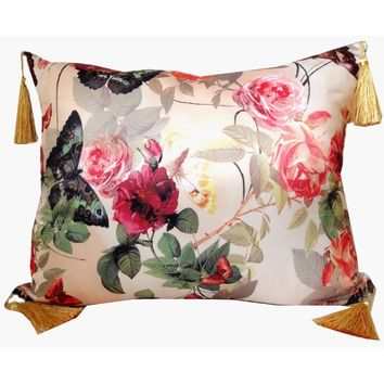 Vintage Rose Floral Throw Pillow