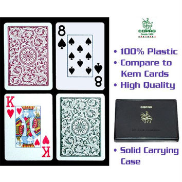 Copag  Poker Size JUMBO Index - Green*Burgundy Setup