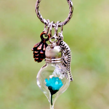 Miniature Terrarium Necklace Nature Jewelry, Tiny Turquoise Flower Glass Tear Drop, Antique Copper Pine Cone, Silver Plated Leaf Pendant