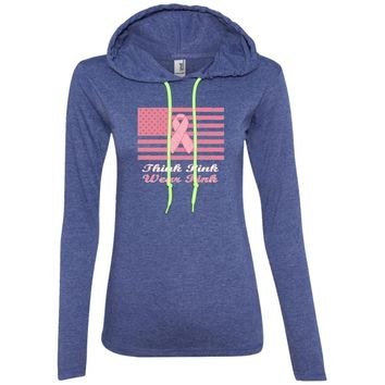 Think Pink Wear Pink for Breast Cancer Awareness 887L Anvil Ladies' LS T-Shirt Hoodie