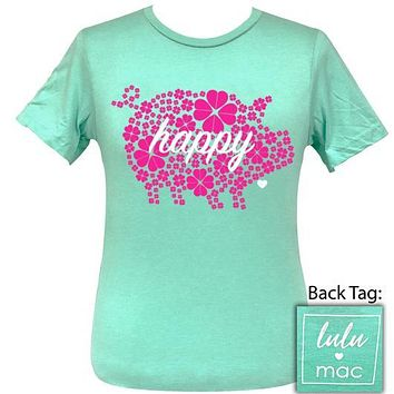 Girlie Girl Originals Lulu Mac Preppy Happy Pig Distressed T-Shirt