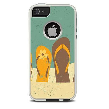 The Vintage His & Her Flip Flops Beach Scene Skin For The iPhone 5-5s Otterbox Commuter Case