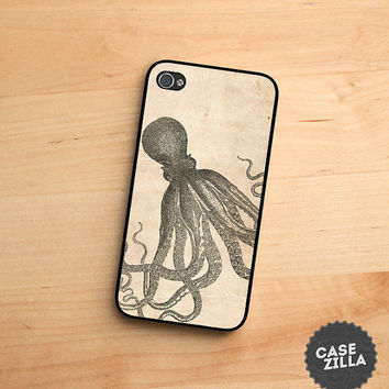 iPhone 5 Case Vintage Octopus Old Paper iPhone 5S Case, iPhone 4/4S Case, iPhone 5C Case
