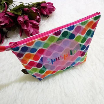 Thank you Gift -  Beautiful Custom Gift - Personalized Clutch - pouch - cosmetic bag - makeup bag - Colorful is trending