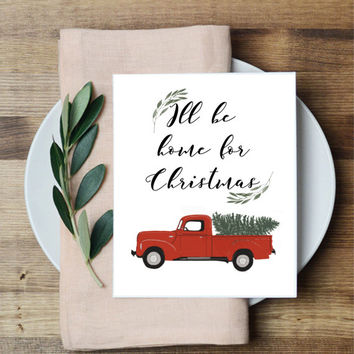 Red Christmas truck, farmhouse Christmas print, PRINTABLE wall art, Christmas wall art, 8x10