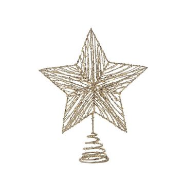 Metal Star Tree Topper with Gold Glitter