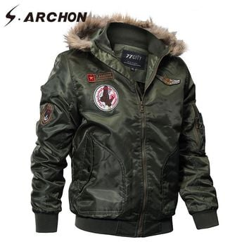 US Air Force Airborne Tactical Bomber Jackets Men Hooded Fur Collar Military Pilot Jacket Winter