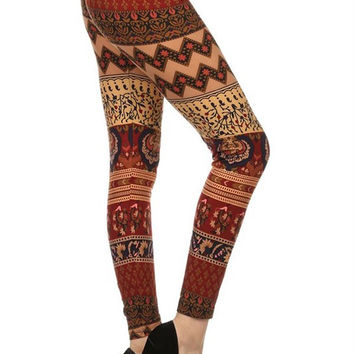 Red and Gold Tribal Print