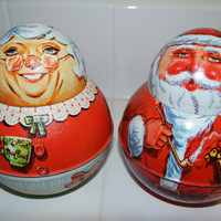 Santa and Mrs Claus J Chein Rare Collectible Tin Litho Cookie Jars, Set of 2 Large Lithography Christmas Tins FREE US Shipping