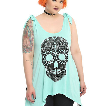 Black Glitter Sugar Skull Mint Sharkbite Girls Tank Top Plus Size