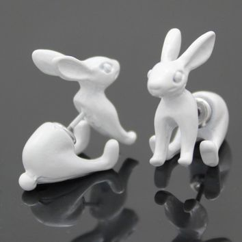 1Pair White 3D March Hare Rabbit Bunny Alice In Wonderland Earrings Ear Studs Steampunk Jewelry