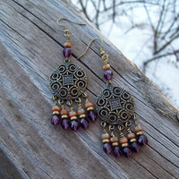 Time to Dance - Rustic Gypsy Chandelier Earrings - Dangles of Faceted Tangerine and Deep Purple