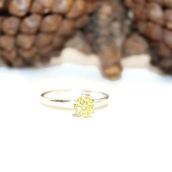 Sunshine Yellow Diamond Ring, Sterling Silver Ring With Bright Yellow Stone, 1/2 Carat Purity Ring