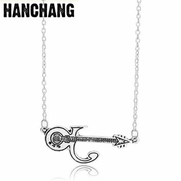 Love Symbol Punk Prince Guitar Necklace&Pendant Men Women Accessories Gold and Silver Memory of Prince Necklace gifts