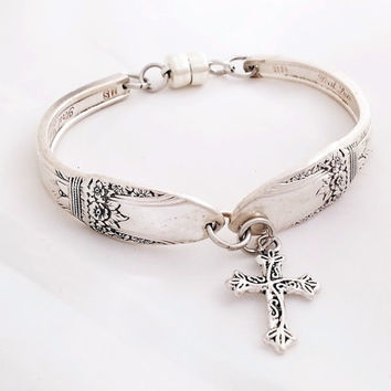 Cross bracelet, religious spoon jewelry, First Love 1937,   silver charm, vintage silverware, free gift box