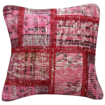 "Pink Patchwork / Overdyed Rug Pillow 16"" x 16"""
