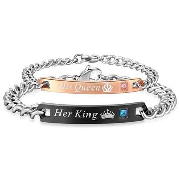 Couple Bracelets His Queen & Her King Matching Set!