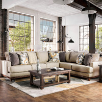 Furniture of america SM1115 2 pc Lazzaro beige woven fabric sectional sofa set
