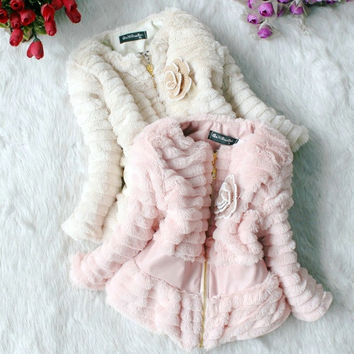 Baby Girls Faux Fur Thicken Outer Jacket Kids Slim Outwear Zip Lined Coat 3-6Yea = 1931463172