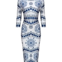Casual Captivating Round Neck Printed Bodycon Dress