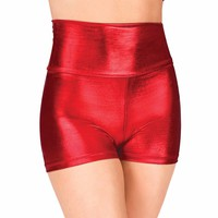 Womens Red High Waist Dance Shorts Metallic Black Gymnastics Shorts Adult Gold Workout Shorts Girls Stage Performance Shorts