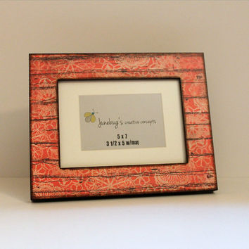 4x6 5x7 Frame Salmon Orange Rustic Floral Wood