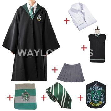 Free Shipping Slytherin Cosplay Robe Cloak Pullover Sweater Shirt Skirt Tie Badge Scarf         for Harri Potter Cosplay