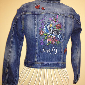 Tattoo art inspired hand painted Gap girl's 12-14 denim jacket- one of a kind. Bird, butterflies, flowers design.