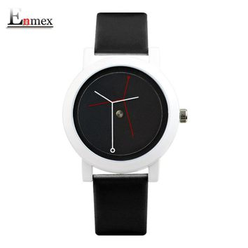 2017  Enmex creative design neutral wristwatch branch concept brief black & white simple face nature fashion quartz lady watches