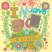 I Love Sewing - Illustration and Typography Digital Print Cute Sewing Craft