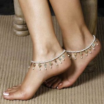 Pearl Dangle Stretch Anklet