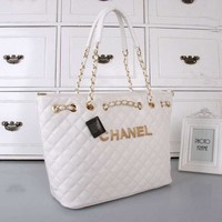 CHANEL Women Shopping Leather Tote Handbag Shoulder Bag