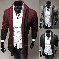Two Toned Trendy Modern Men Fashion Open Cardigan