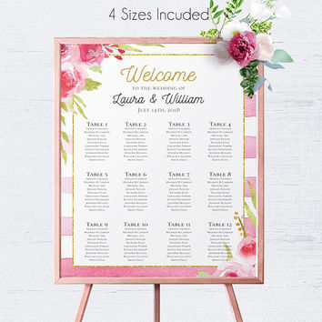 Striped Wedding Seating Chart, Seating Template, Seating Plan, Seating Chart Sign, DIY Table Plan, Wedding Table Plan, Find Your Seat