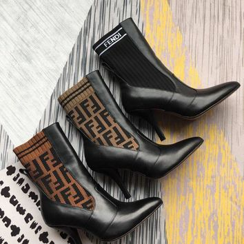 Fendi Rockoko Logo-jacquard Stretch-knit And Leather Ankle Boots - Heel 9cm. #904
