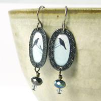 Bird Earrings - Black Bird Pale Blue Sky Gunmetal Oval Beaded Dangle Nature Jewelry