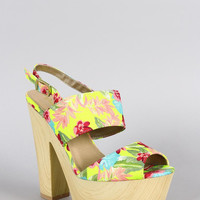 Qupid Neon Floral Platform Open Toe Heel Color: Neon Yellow, Size: 8