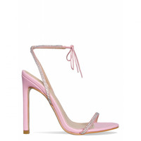 Korra Pink Diamante Barely There Lace Up Heels : Simmi Shoes