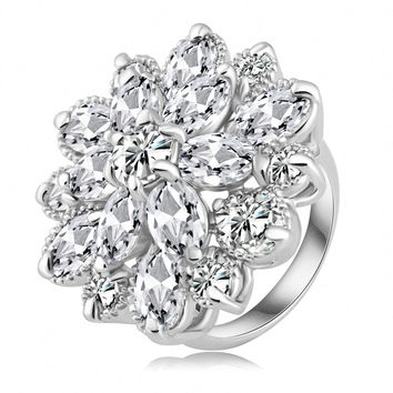 New Arrival Noble Flower Shape Engagement Ring Platinum Plated AAA Cubic Zircon Rings Fashion Jewelry Ri-HQ0365