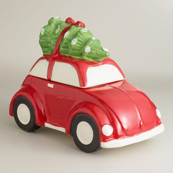 Red Car with Holiday Tree Cookie Jar - World Market