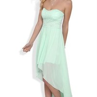 Strapless High Low Dress with Lace Bodice