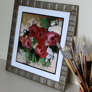 "Framed Original floral painting 12x12"" acrylic on panel flower red pink beige green impressionist still life fine art by Cristina Jacó"