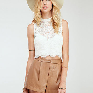 White Lace High Neckline Sleeveless Crop Top