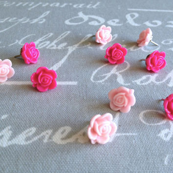 Bulletin board, small rose push pins, set of 10, hot pink, lt. pink, cork board, vintage style, office decor,dorm decor, hostess gift