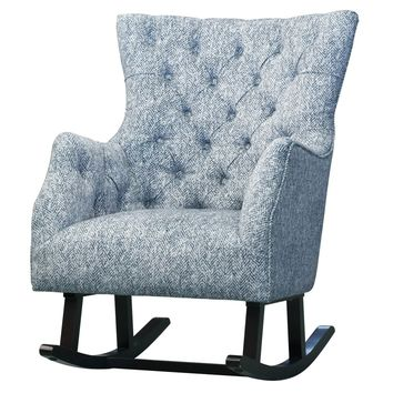 Abigail Fabric Tufted Rocking Chair, Quiver Indigo Blue