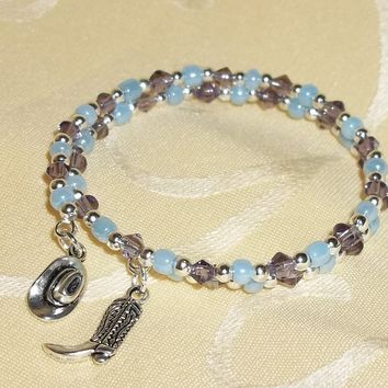 Cowboy Boot & Hat Baby Blue Luster and Purple Swarovski Crystal Hand Crafted Silver Wrap Bangle Bracelet