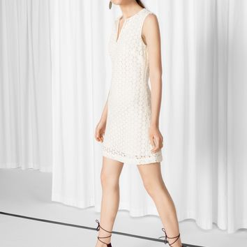 & Other Stories | Flower Lace Mini Dress | Off White