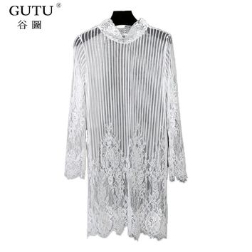 [GUTU] Hot Sale Spring 2018 New Pattern High Collar Knee-length Loose Big Size Cheaper Lace Hollow Out Lady Dress Tide MA60201A