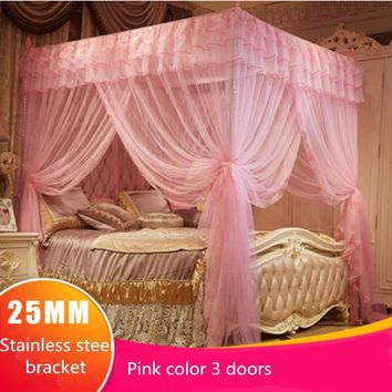 Cool White Three Door Princess Mosquito Net Double Bed Curtains Sleeping Curtain Bed Canopy Net Full Queen King Size NetAT_93_12